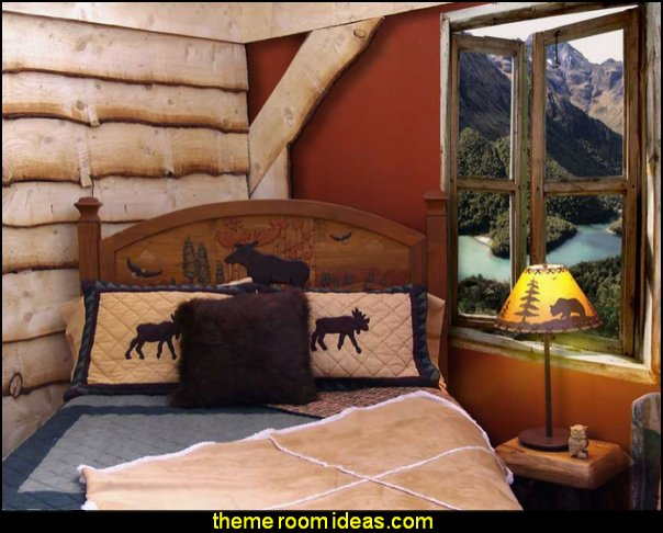 River Large Window Wall Mural  log cabin - rustic style decorating - Cabin decor - bear decor - camping in the northwoods style - Antler decor - log cabin boys theme bedroom - Cabin Bedding - Rustic Bedding - rustic furniture - cedar beds - log beds - LOG CABIN DECORATING IDEAS - Swiss chalet ski lodge murals - camping room decor
