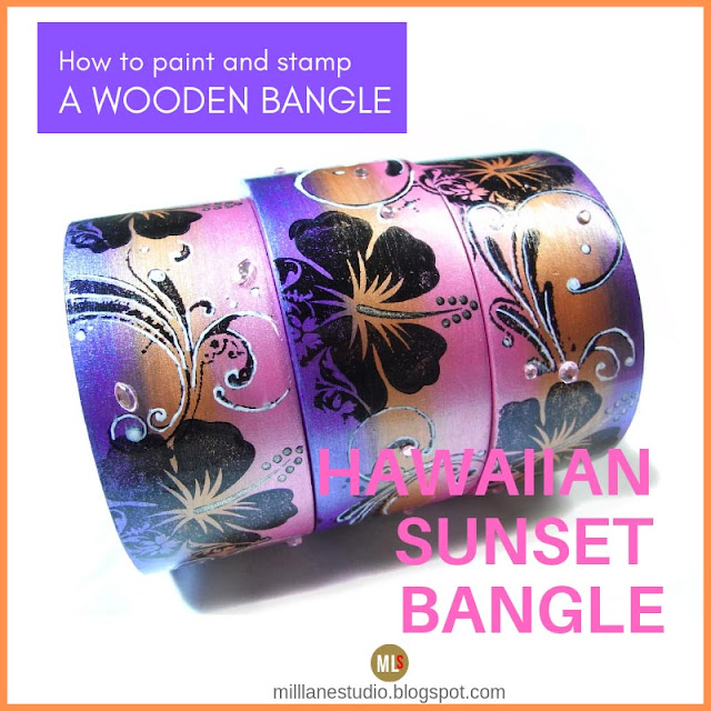 Tropical sunset hibiscus bangle project header