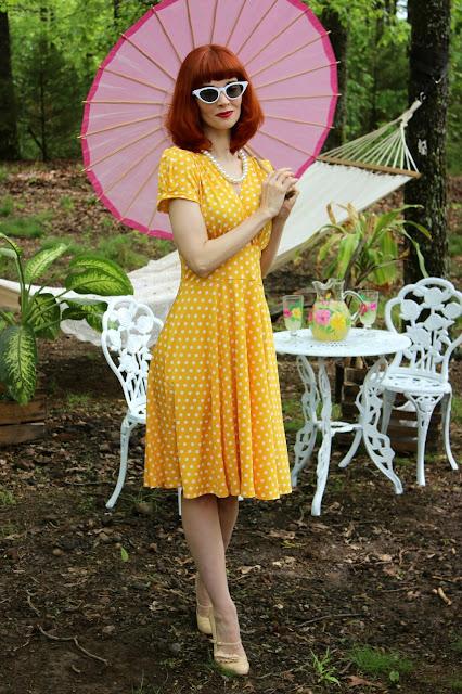 Yellow Polka Dot Megan Dress KarinaDresses.com
