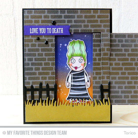 Handmade card from Torico featuring Frightful Friends stamp set and Die-namics, Grassy Edges, Frightful Fence, Inside & Out Stitched Rectangle STAX, Slider Channel Builder, Blueprints 13 and Blueprints 30 Die-namics, and English Brick Wall stencil #mftstamps
