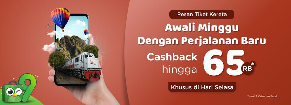 Tokopedia - Promo Voucher Tiket KAI Cashback s.d 65 Ribu (Khusus Hari SELASA)