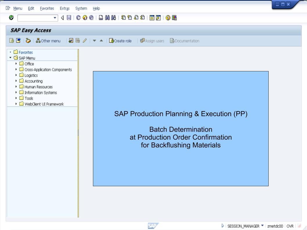 青蛙SAP分享 Learning & Examination: Production Orders - Batch