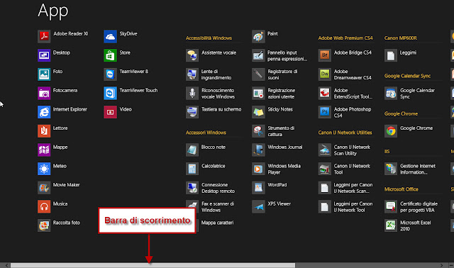 Elenco di tutte le App installate - Windows 8