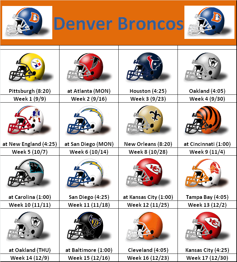 Denver Broncos Schedule: SimonOnSports: 2012 Denver Broncos Helmet Schedule