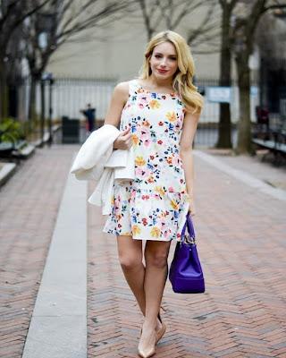 vestido con flores corto de primavera tumblr de moda casual