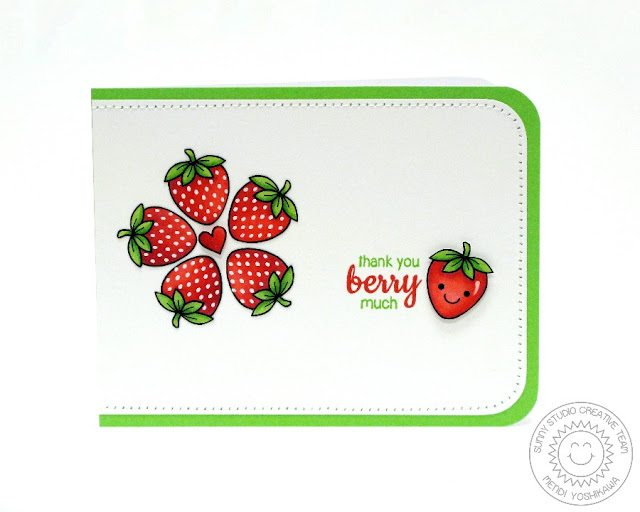 Sunny Studio Stamps: Fresh & Fruity Strawberry Card by Mendi Yoshikawa