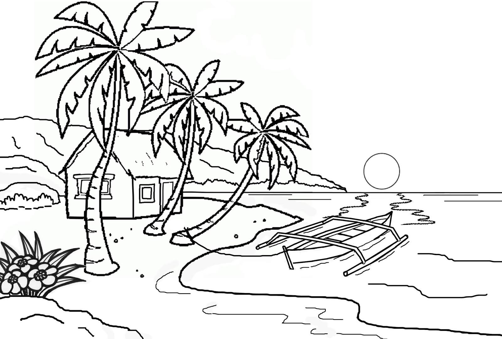 Gambar Mewarnai Pemandangan Laut Dan Pantai Gambarcoloring
