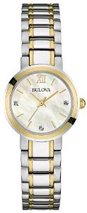 buy now! Bulova Diamond Women's Quartz Watch with Mother of Pearl Dial Analogue Display £45.58