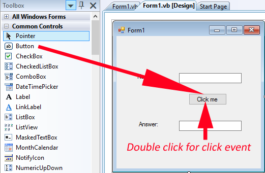 Button click event on visual basic