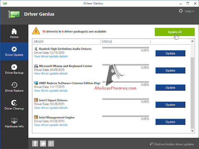 Driver Genius Professional Update or uninstall drivers on your computer, schedule scan operations to find outdated drivers.