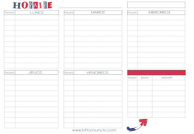 freebies, rentrée des classes, horaire scolaire, planning mensuel, étiquettes, FLE, le FLE en un 'clic'