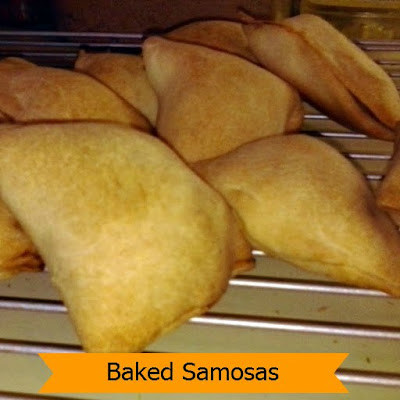 Baked Samosas:  Spicy potatoes and peas stuffed into hand sized pastry then baked until golden.  A great snack or appetizer.
