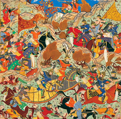 Timur defeating the Mamluk Sultan Nasir-ad-Din Faraj