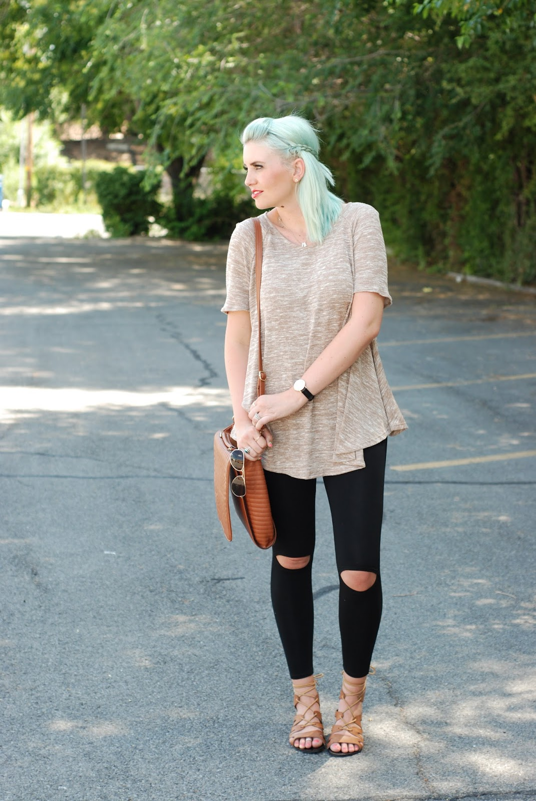 Sidney Clark Designs, Ripped Knee Leggings, Fall Outfit
