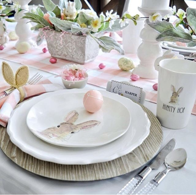 Pretty Pink & White Easter Tablescape