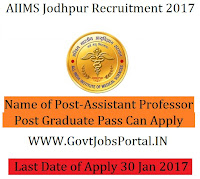 AIIMS Jodhpur Recruitment 2017 – 77 Professor, Assistant Professor Officer