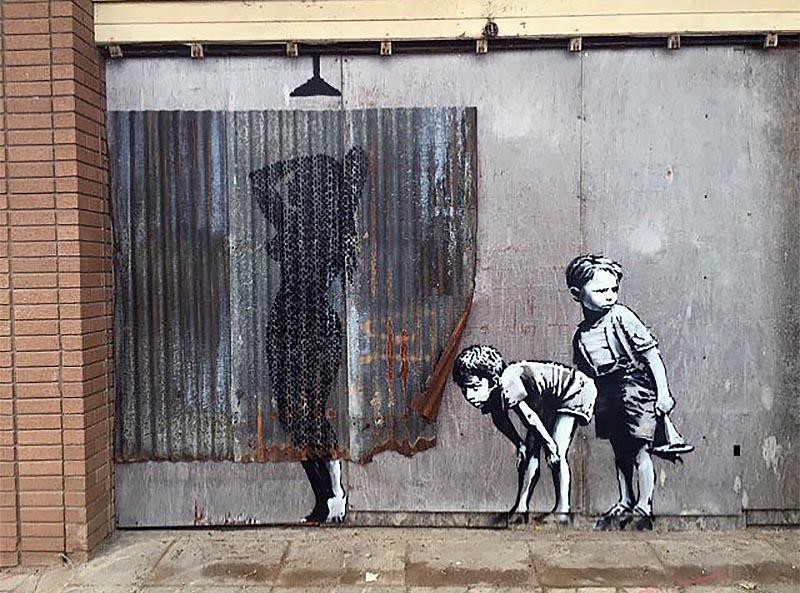 banksy creates a new piece in weston