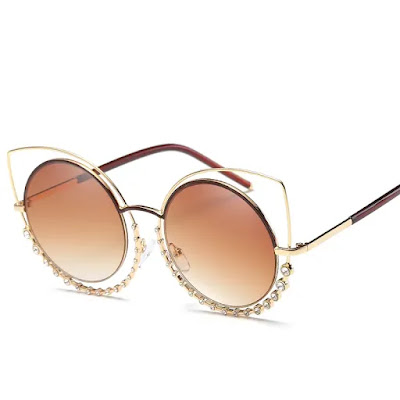 Cat Eye Sunglasses Retro BlingBling Glasses Brand Designer Retro Vintage Sunglasses