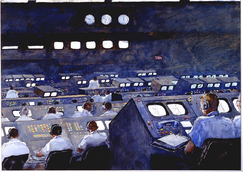 painting of space flight control room 1960s