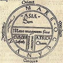 A classical T-O Map, but this one is from a printing press, not hand drawn like the one above, and far from being the earliest. It dates to 1472.