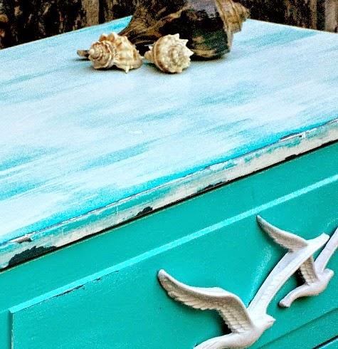 coastal blue dresser makeover