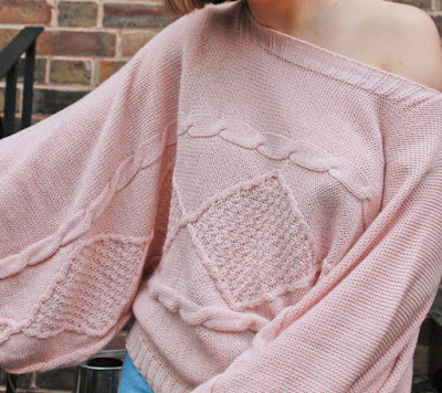 Femme Luxe Rose Bardot Cable Knit Oversized Jumper