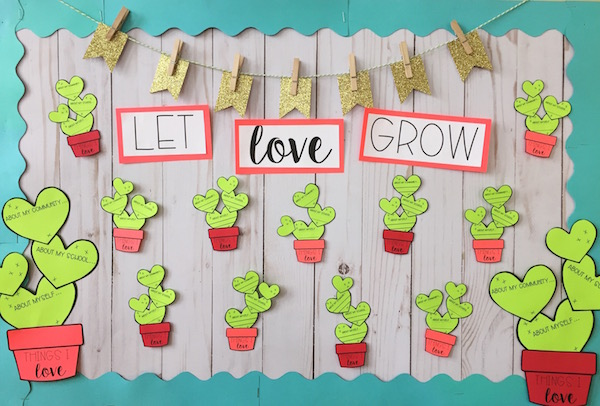 Encourage Students To Reflect On What They Love About Themselves Their School And Community With This Trend Cactus Bulletin Board
