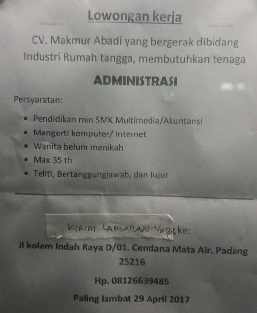 Lowongan Kerja Padang: CV. Makmur Abadi – Administrasi April 2017