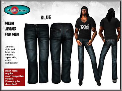 3e162776 Available in our mainstore MayCreations mainstore. Or on SL marketplace:  MayCreations mesh jeans for men