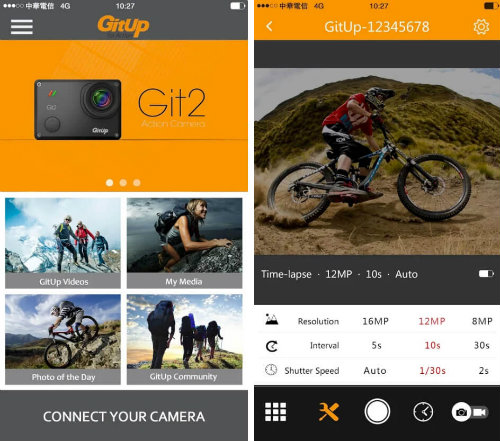 Apps for sports cameras Gitup For Action app