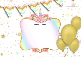 Unicorn with Rainbow: Free Printable Invitations.
