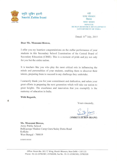 Appreciation from the Hon'ble Minister, Human Resource Development, Government of India to Ms.Moushumi Biswas the Vice Chairperson of Krishnaa Human Initiatives