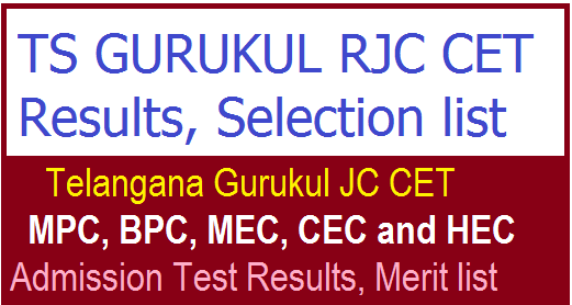 TS GURUKUL RJC CET Results 2018  – Download TS Gurukul Inter Result at tsswreisjc.cgg.gov.in