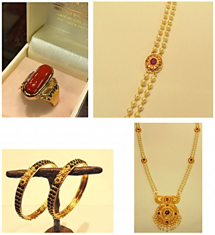 Gold Jewellery Showroom designs - Necklace, Coral ring and Bangles