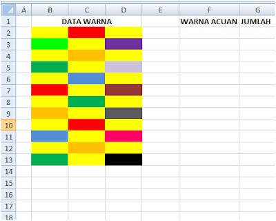 cara menjumlahkan berdasarkan warna di excel