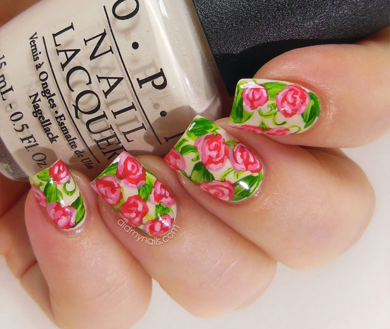 Did My Nails: Rose Nail Art in Raspberry Pink