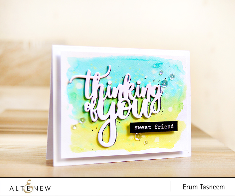 Altenew Thinking of You die | Frosted Garden Stamp Set | Erum Tasneem | @pr0digy0