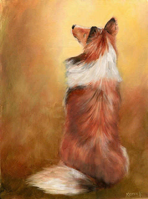 Oil painting of a sheltie, back view, looking up and waiting