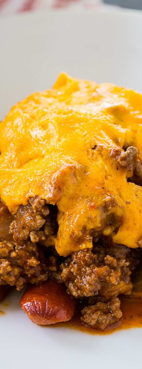 Low Carb Chili Dog Casserole #LOWCARB #CASSEROLE