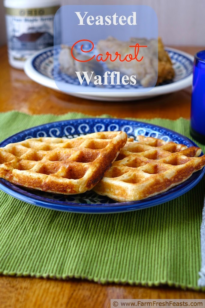 A light and fluffy waffle tinged with shredded carrots for a Spring breakfast--start it the night before, then enjoy waffles without having to wake up enough to measure the batter ingredients.