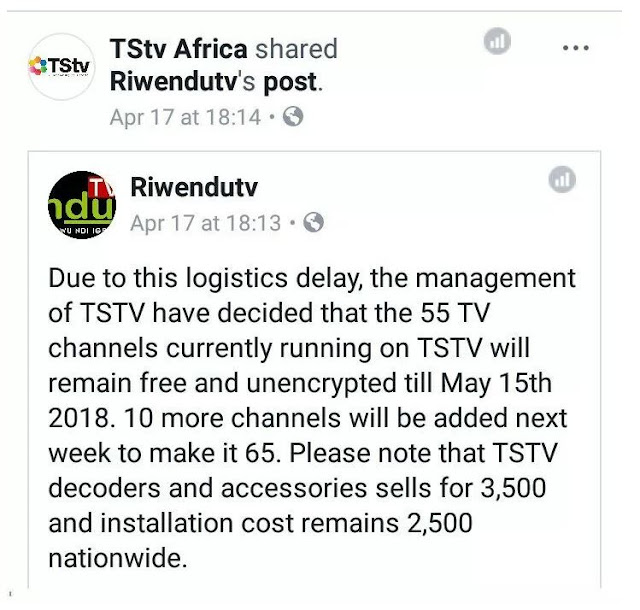 TSTV Africa added more 10 channels to the current 45 channels to compensate their customers