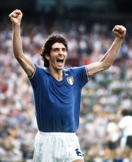 Paolo Rossi celebrates his goal in the 1982 World Cup final in Spain