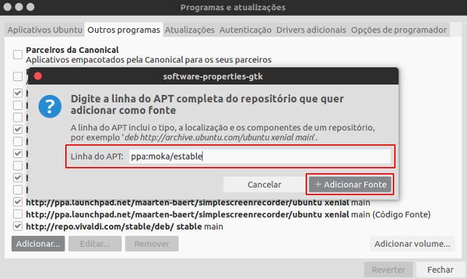 adicionar repositorio utilizando o programas e atualizacoes do ubuntu linux