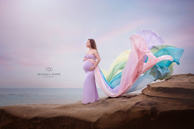 Maternity Fine Art Portrait by Monique Hoppe in San Diego area with chicaboo Rainbow Gown