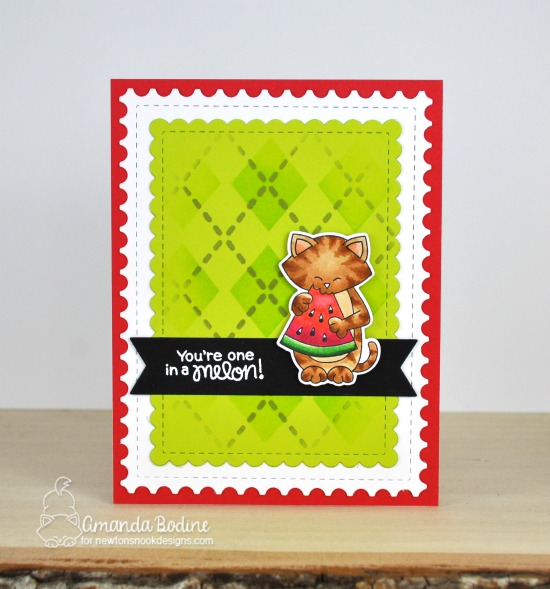 One in a Melon Cat and Watermelon Card by Amanda Bodine | Newton's Melon Stamp Set, Argyle Stencil Set and Framework Die Set by Newton's Nook Designs #newtonsnook #handmade