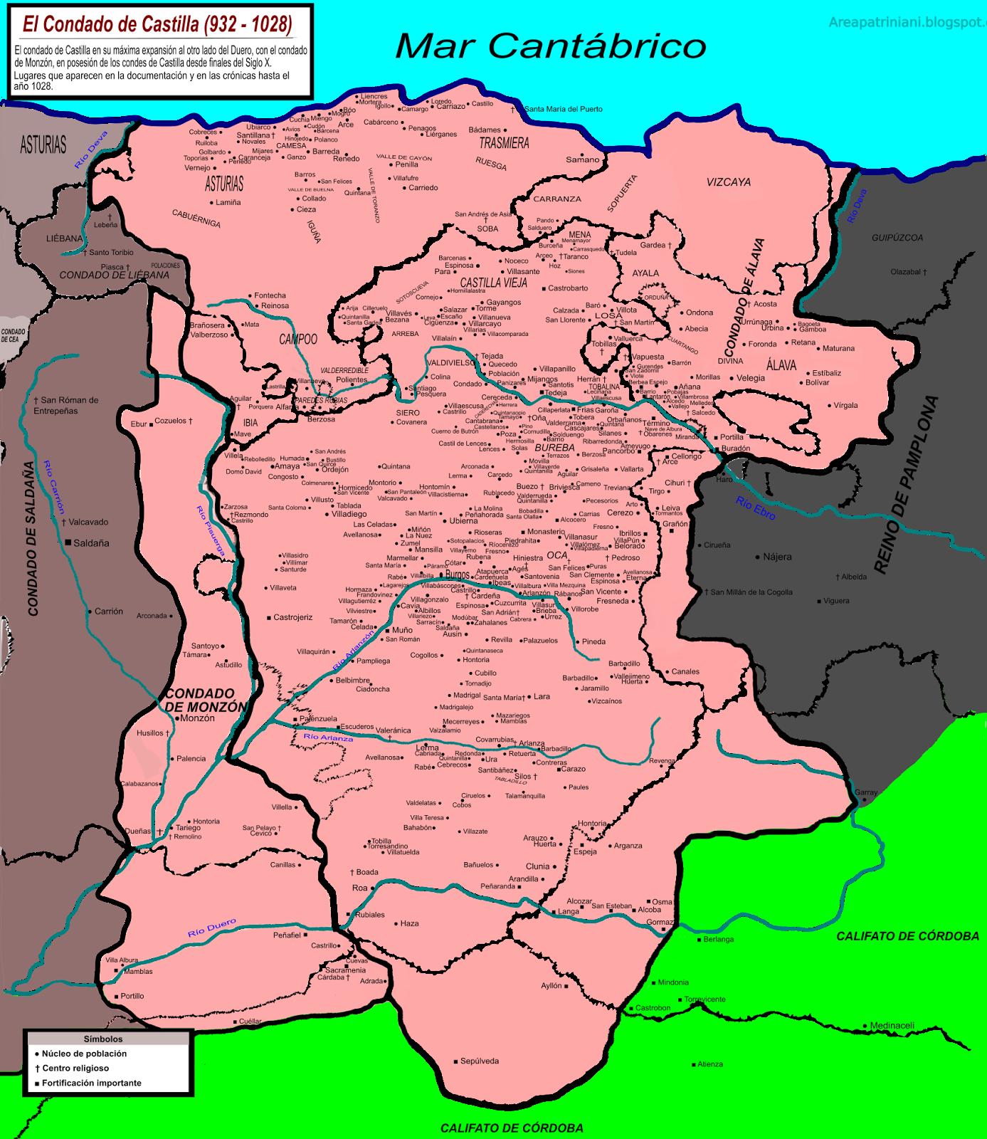 Mapa del condado de Castilla