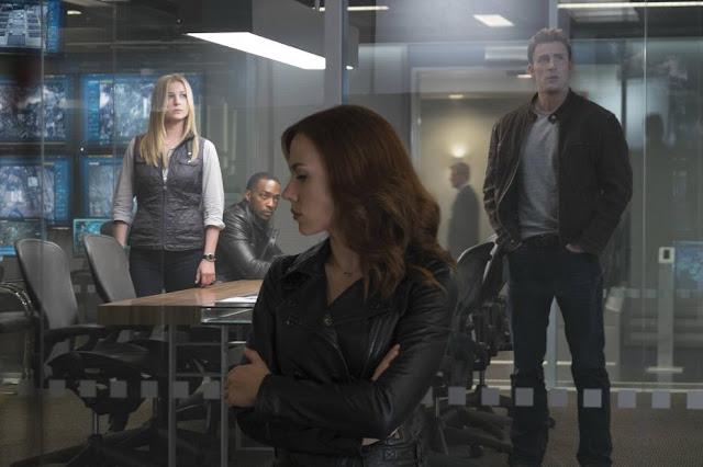 Mulling the Sokovia Accords, starring Scarlett Johansson in leather
