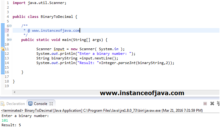 java program to convert binary to decimal