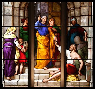 Imagem de São Pedro curando o coxo, vitral, #1