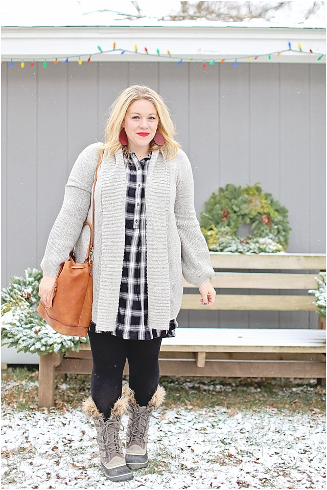 Perfect Gray Cardi Sweater over dress
